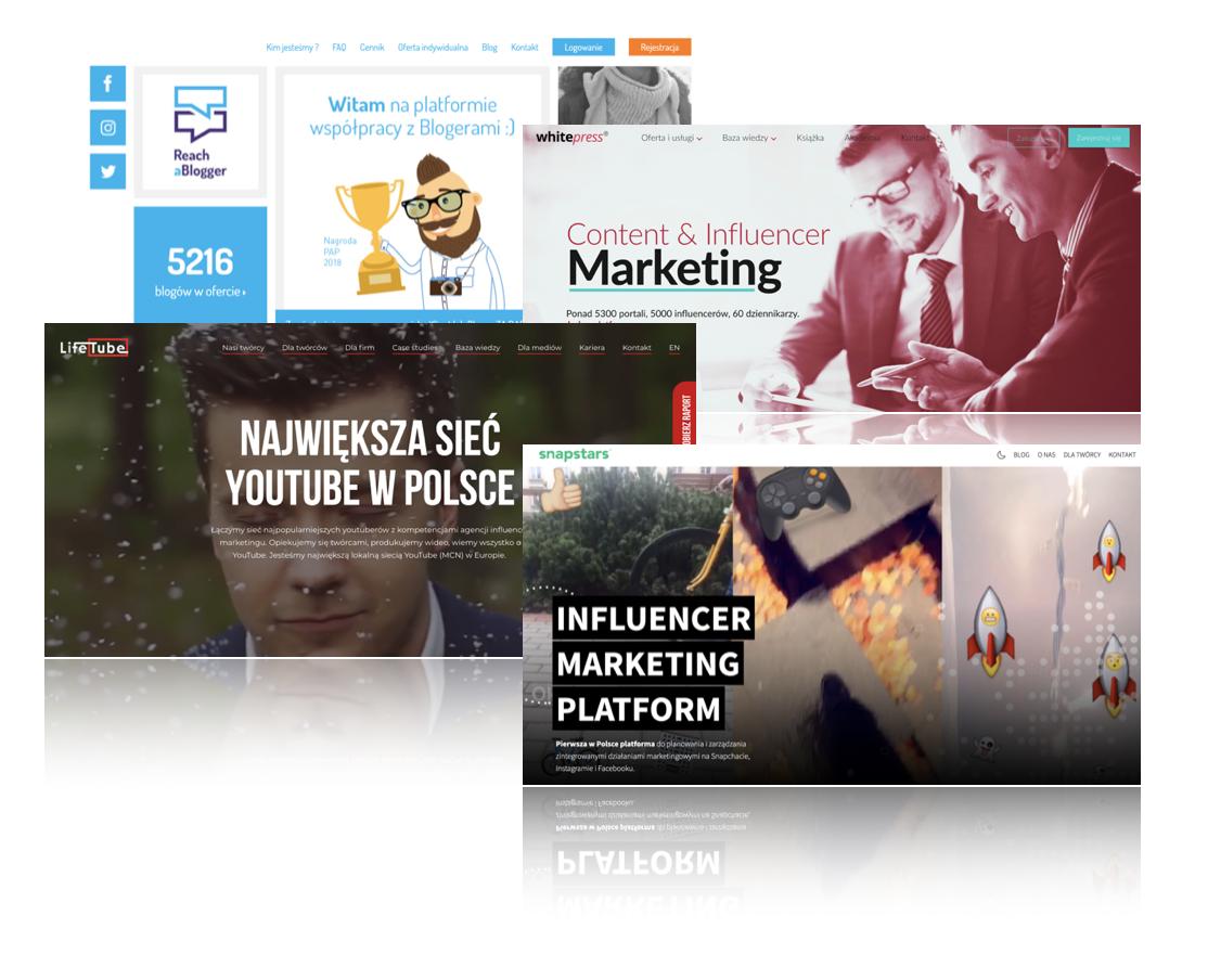 platformy współpracy whitepress snapstars lifetube reachablogger
