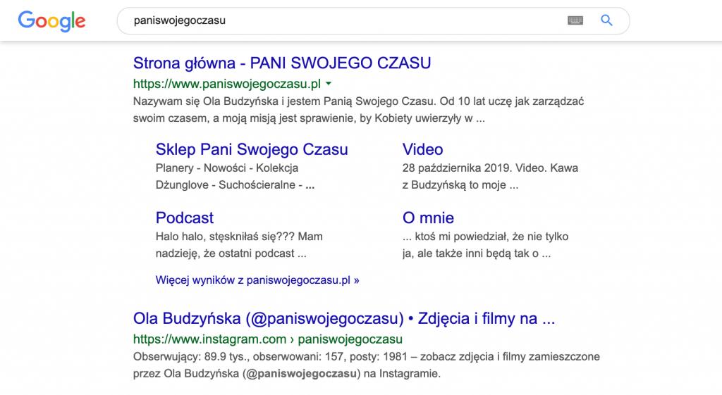 Wyszukiwarka google profil Instagram Ola Budzynska Pani Swojego Czasu