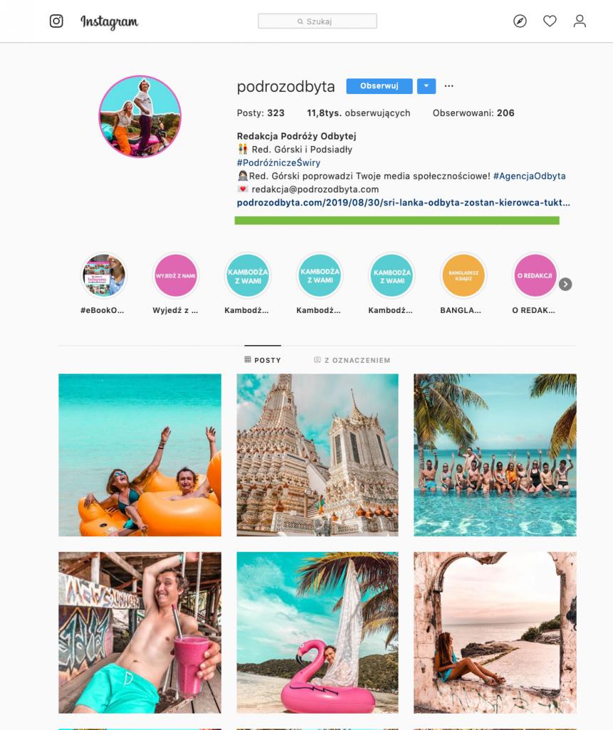 instagram spójność podróż odbyta